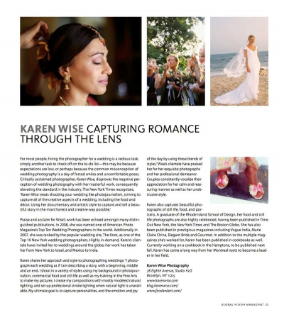 Karen Wise featured in Global Vision