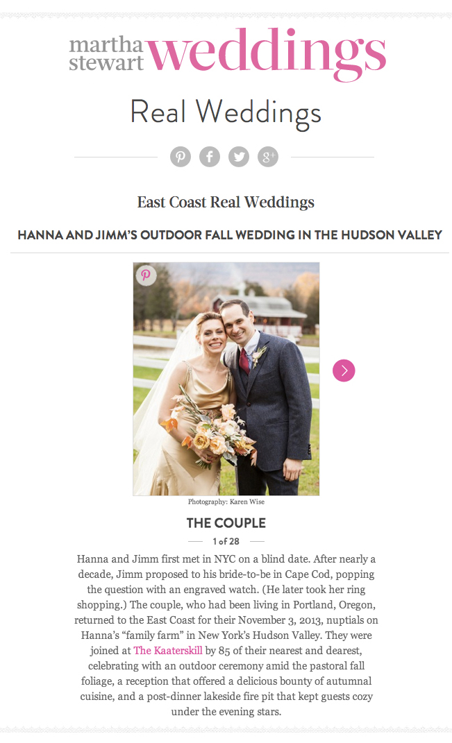 Hanna and Jimm, Martha Stewart Weddings Feature